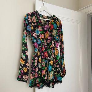 Silk Floral Long-sleeved Romper